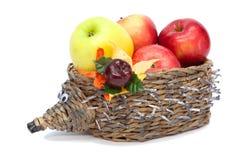 Hedgehog com maçãs Imagens de Stock Royalty Free