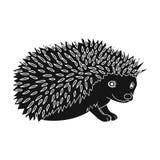 hedgehog De dieren kiezen pictogram in het zwarte Web van de de voorraadillustratie van het stijl vectorsymbool uit Stock Afbeeldingen