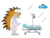 Hedgehog doctor. Set. Vector illustration. Isolated on a white background royalty free illustration