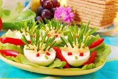 Hedgehog dos ovos e dos cebolinhos Imagens de Stock Royalty Free