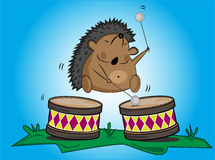 Hedgehog  and drums. Funny hedgehog  and drums on the glade Stock Photography