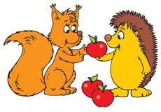 Hedgehog e esquilo Imagem de Stock