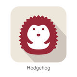 Hedgehog face flat icon design. Animal icons series. Hedgehog face flat icon design. Animal icons series, vector illustration Royalty Free Stock Photos