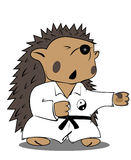 Hedgehog fighter. In white kimono Royalty Free Stock Photos