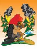 Hedgehog firefighter. A  illustration of funny hedgehog firefighter Royalty Free Stock Photography