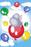 Hedgehog flies at the balloon Royalty Free Stock Photos
