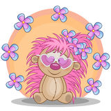 Hedgehog with flowers. Greeting card Hedgehog with flowers Stock Photos