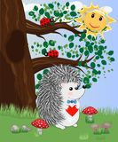 The hedgehog in the forest glade. The concept of art, love. Owl on a tree branch. The hedgehog in the forest glade. The concept of art, love vector illustration
