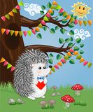 The hedgehog in the forest glade. The concept of art, love. Owl on a tree branch. The hedgehog in the forest glade. The concept of art, love stock illustration