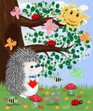 The hedgehog in the forest glade. The concept of art, love. Owl on a tree branch. The hedgehog in the forest glade. The concept of art, love royalty free illustration