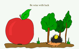 Hedgehog-in-the-forest-and-text. Hedgehog with apple goes through the woods. And text Stay wise luck. Vector illustration. For printing on packaging, T-shirt Stock Photography