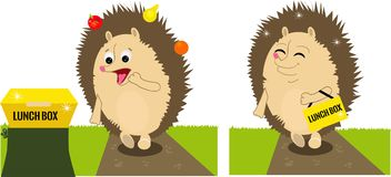 The hedgehog found the lunchbox. The hedgehog found the big yellow lunchbox. Colored vector illustration Stock Photography