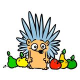 Hedgehog fruit apple pear cartoon illustration Royalty Free Stock Image