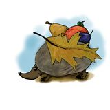 Hedgehog with fruits on her back. Animal illustration Royalty Free Stock Photography