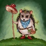Hedgehog gatherer fantasy adventure children book illustration vector illustration