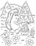 Hedgehog gathers mushrooms. Black-and-white illustration (coloring page): Hedgehog picks mushrooms on a glade of a forest vector illustration