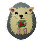 Hedgehog with a gift, cartoon,. Eps10 Stock Photos