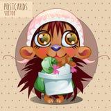 Hedgehog girl in cap, vector series cartoon Stock Photography