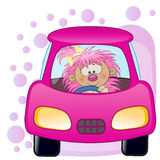 Hedgehog girl in a car Royalty Free Stock Images