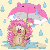 Hedgehog girl with umbrella Stock Images