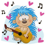 Hedgehog with guitar. Hedgehog with a guitar on background music and hearts Stock Image