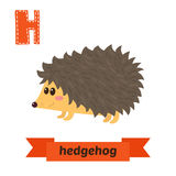 Hedgehog. H letter. Cute children animal alphabet in vector. Fun Royalty Free Stock Photo