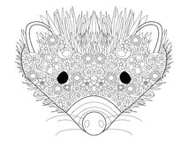 Hedgehog head coloring vector for adults Royalty Free Stock Images