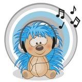 Hedgehog with headphones. Cute cartoon hedgehog with headphones Royalty Free Stock Images