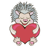 Hedgehog with heart. cartoon style. Stock Photography