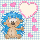 Hedgehog with heart frame Stock Photo