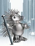 Hedgehog holding a bolt and nut. Royalty Free Stock Photo