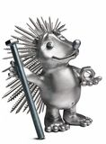 Hedgehog holding a bolt and nut. symbol of hardware Royalty Free Stock Photography