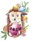 Hedgehog holds a red ball 2020 year with a New Year`s decor on the back, on pins and needles stock illustration