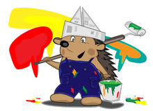 Hedgehog house-painter Stock Photo
