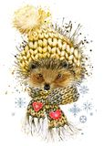 hedgehog in a knitted hat with snowflake. watercolor winter wild forest animal illustration. vector illustration