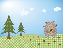 Hedgehog and mushroom Stock Photography