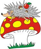 Hedgehog and mushroom Royalty Free Stock Photos