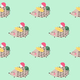 Hedgehog with mushroom, acorn, leaf seamless pattern on green background. Stock Photography