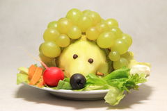 The hedgehog. One hedgehog made from fruits and vegetables. A food for chidren Stock Images
