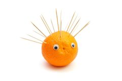 Hedgehog of orange and toothpicks Royalty Free Stock Image