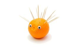 Hedgehog of orange and toothpicks Stock Image