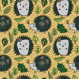 Hedgehog pattern. Cute hedgehog pattern with leaves Vector Illustration