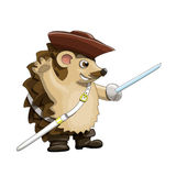 Hedgehog pirate with a saber Stock Photos