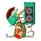 Hedgehog playing  guitar , band music, on white background. Hedgehog playing  guitar , band music,  illustration. isolated on white background Stock Photo