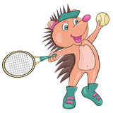 Hedgehog plays tennis. Cartoon style. Clip art for children Stock Photography