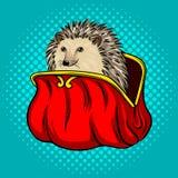 Hedgehog in a purse metaphor pop art vector. Hedgehog in a purse metaphor pop art style vector illustration. Comic book style imitation Stock Photography