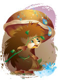 Hedgehog and rain Stock Photo