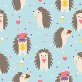 Hedgehog seamless pattern on blue background perfect for fabric and card. Cute cartoon animal. Child illustration.  Royalty Free Stock Images