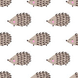 Hedgehog seamless pattern. Cute cartoon animal background. Child drawing style hedgehog illustration Royalty Free Stock Photography