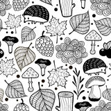 Hedgehog seamless pattern with nature elements. Royalty Free Stock Image